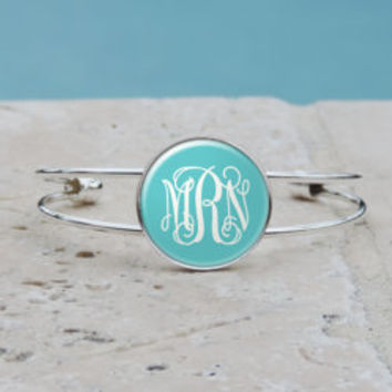 Tiffany Blue Monogram Pendant Necklace, Tiffany Blue Monogram Bangle Cuff, Monogram Bracelet, Gifts for Her