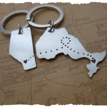 Canadian Province Key Chains - Canada - Best Friends Boyfriend Girlfriend Husband Wife - LDR - LDRSHIP Long Distance Relationship his her