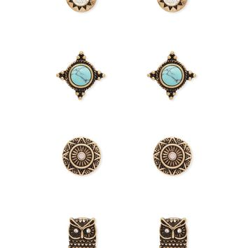 Burnished Owl Stud Set