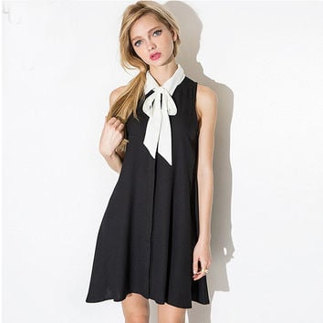 Black Bow Neck Sleeveless Pleated Swing Mini Dress