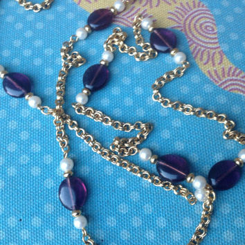 Vintage Gold Avon Necklace with Amethyst and Pearl Beads