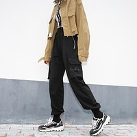 Women Fashion Zip Pocket Leisure Cargo Pants Sweatpants Trousers