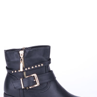 Buckle Detail Double Zip Ankle Boot-Brown-UK 7 - EU 40