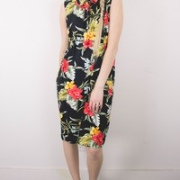 Vintage 90s Floral Hawaiian Style Midi Dress
