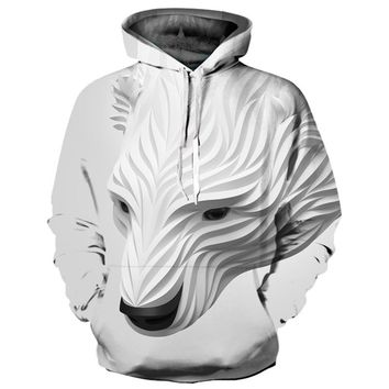 Polar Bear Carving All Over Full Print 3D Diy Sublimated White Polyester Blend Unisex Pullover Hoodie