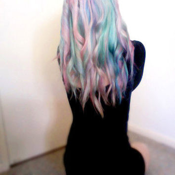 Rainbow pastel hair extensions // my little pony // clip in // (10pcs)