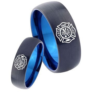 His Hers Fire Departments Dome Tungsten Blue Men's Band Ring Set