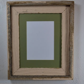 8x10 shabby chic style picture frame with green mat for 5x7 or 8x6 photo or print