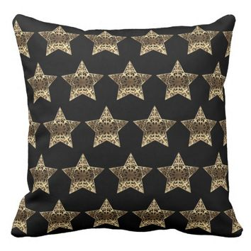 Stars Black and Gold Elegant Christmas Pattern Throw Pillow