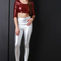 High Waist Metallic Jeggings