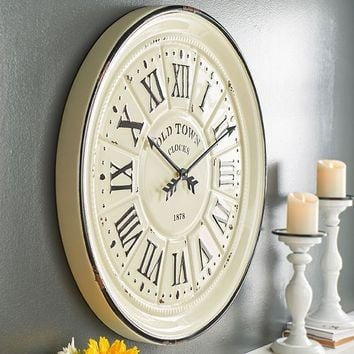 Vintage Baked Enamel Distressed White Wall Clock -- 27-in