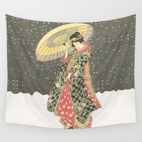 In the snow with an umbrella Wall Tapestry by anipani