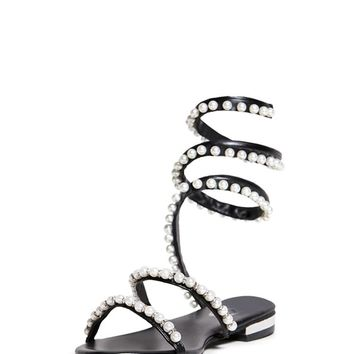 Faux Pearl Ankle Wrap Sandals