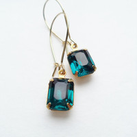Vintage Earrings Glass Dangles Blue Teal Accessories Gift Idea For Her Spring Wedding Mothers Day Bridesmaids under 15