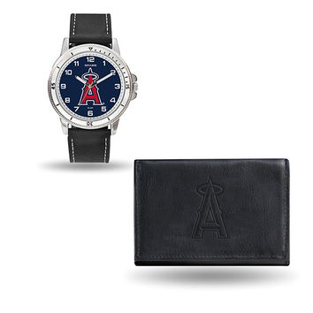 ANAHEIM ANGELS MENS BLACK WATCH AND WALLET