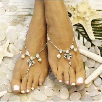 PEARL barefoot sandals - silver OOAK