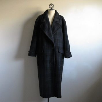 80s Wool Maxi Coat ESCADA Vintage 1980s Grey Blue Plaid Wool Long Winter Overcoat Medium