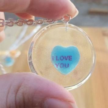 DCCKHD9 Necklace Conversation Heart Pendant Casted Candy in Resin Valentine's Day I Love You S
