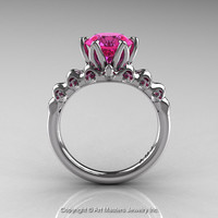 Nature Inspired 14K White Gold 2.0 Carat Pink Sapphire Organic Design Bridal Solitaire Ring R670s-14KWGPS