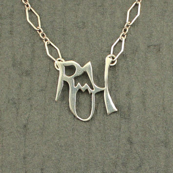 Vintage Sterling Silver Initial Pendant Letters R M H With Chain