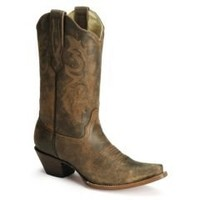 Sheplers: Corral Distressed Leather Western Cowgirl Boots - Snip Toe