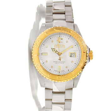 Invicta 11568 Men's Reserve Pro Diver Gold Tone Bezel White Dial Stainless Steel Swiss Automatic Dive Watch