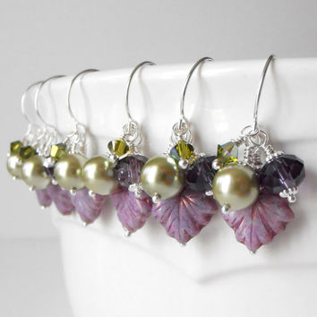 Beaded Jewelry, Green and Purple Earrings, Bridesmaid Jewelry, Bead Cluster Dangles, Lilac Wedding Jewelry, Bridesmaid Earrings