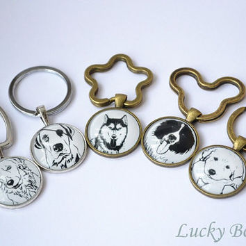 Dog Keychain,Pen Drawing pet dog key ring ,Dog Jewelry Dog Lover Gift Pet Lover Gift K1