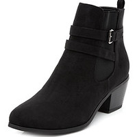 Wide Fit Black Strappy Chelsea Boots