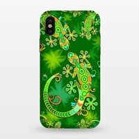 Gecko Lizard Colorful Tattoo Style - StrongFit iPhone X Cases | ArtsCase