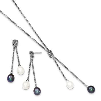 925 Sterling Silver Rhodium-plated FWC Pearl Knot 18 in Neck & Earring Set