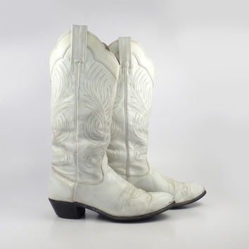 White Cowboy Boots Vintage 1980s Distressed Women's size 6 1/2