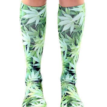 Green Weed Knee High Socks