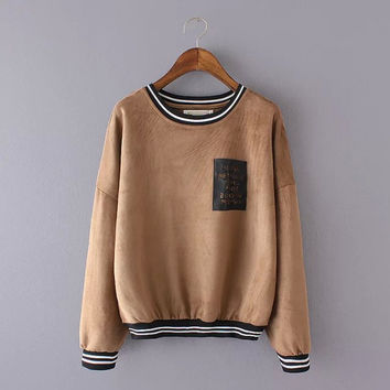 Stripe Letter Pocket Print Suede Sweater