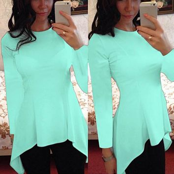 9 Colors S-4XL Celmia Plus Size Blusas 2017 Summer Tops Women Short Sleeve Blouse Sexy Tunic Peplum Slim Fitness Casual Shirt