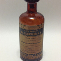 Vintage 1920s Parke Davis Extract of Iris Versacolor - Blue Flag - Antique Medicine With Contents