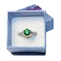 Emerald Promise Ring Solitaire Green Cubic Zirconia inBox