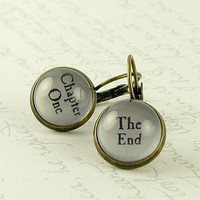 Book Earrings - Chapter One and The End - Literary Jewelry - Writer Gift - Bibliophile
