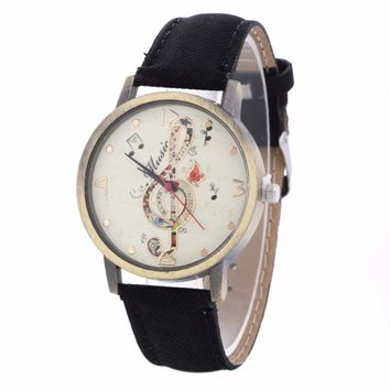 Feitong Vintage Dress Watches For Women Creative Note Pattern Quartz Watch PU Leather Strap Belt Table Watch relogio feminino