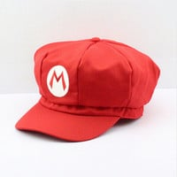 Super Mario Stuffed Plush Toys Cotton Caps hat red mario cap Anime Cosplay Halloween Costume Buckle Hats Adult Hats Caps