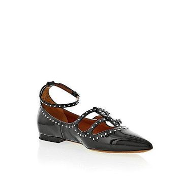 Givenchy Black Patent Leather Ballerina Ankle Strap With Silver Studs