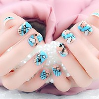 Hot Selling 24pcs/set Fake Nails With Cartoon Designs French Manicure Unhas Tips Artificiais Acrylic Kids Unghie Finte Free Glue