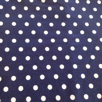 Blue Fabric Destash Remnant Navy White Dots Robert Kaufman