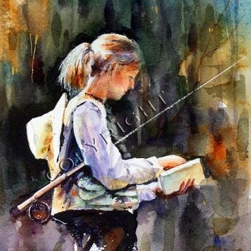 WOMAN FLY FISHING 12 x 18 Watercolor Print by Dean Crouser