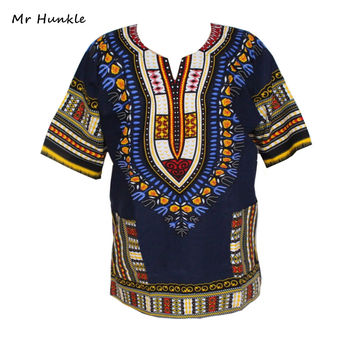 Fashion Design 100% Cotton New Arrival African Print Dashiki Clothing Short Sleeve Dashiki T-shirt For Men