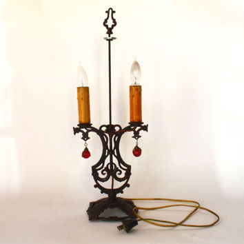 Antique Table Lamp, Iron Lamp, Desk Lamp, Metal Lamp, Metal Scroll Lamp, Victorian Lamp