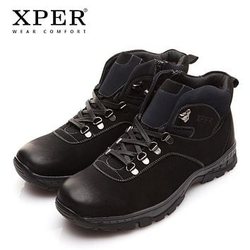 New Winter Men Boots Fashion Black Snow Warm Fur Men Shoes Ankle Zipper Casual Shoes Waterproof Rubber
