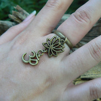 ohm ring brass lotus flower ring lotus flower om ring in yoga new age meditation zen hipster boho gypsy hippie style