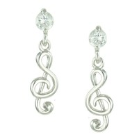 Crystal Accent 14K White Gold Plated Tiny Music Note Drop Stud Earrings