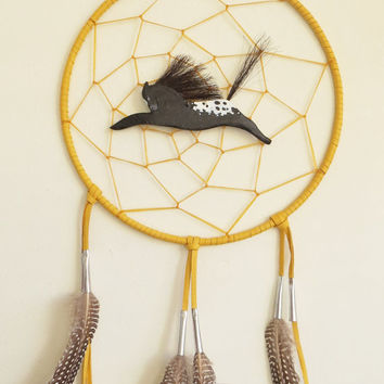 Large dream catcher Native American Indian style spirit horse blanket Appaloosa spotted pony traditional deerskin leather feathers tin cones